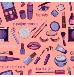 Glamorous make-up seamless pattern vector image