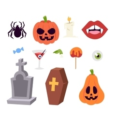 Halloween symbols collection vector image vector image