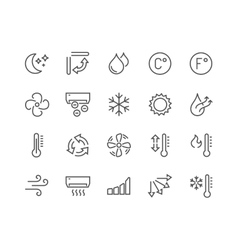 Line air conditioning icons vector