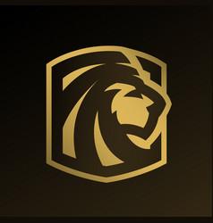 lion head gold logo emblem vector image vector image