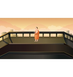 Monk to receive food in morning vector image