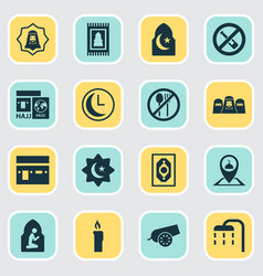 Religion icons set collection of religion cannon vector