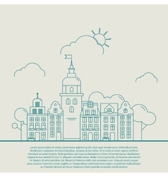 Beautiful detailed linear cityscape with various vector image