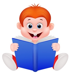 Cartoon boy reading a book vector image