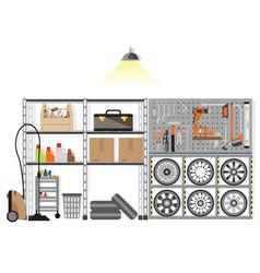 interior storage room with metal shelf vector image