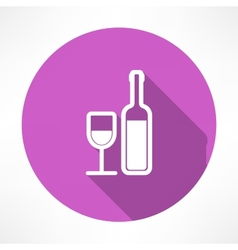 Wine bottle and a glass icon vector image vector image