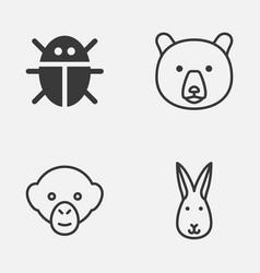 zoo icons set collection of beetle baboon bunny vector image