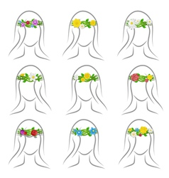 flower wreaths set vector image vector image