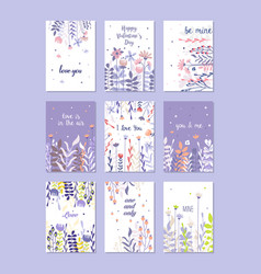 Greeting cards set trendy cards for valentines vector