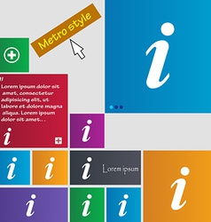 Information Info icon sign Metro style buttons vector image