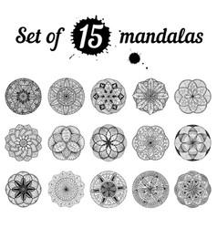 ser of 15 mandalas vector image