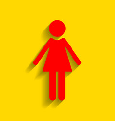 woman sign red icon with vector image vector image