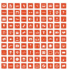 100 video icons set grunge orange vector image