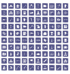 100 violation icons set grunge sapphire vector