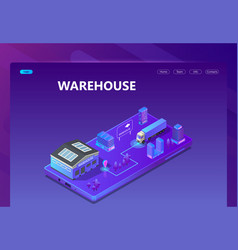 3d isometric site - warehouse with tracking vector image