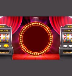 3d slots machine wins jackpot scene vector