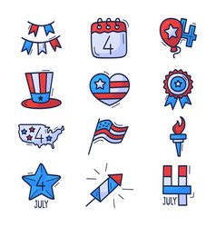 4 july icon set usa independence day hand drawn vector image