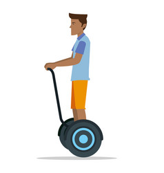 a man riding a hover board balanced scooter vector image