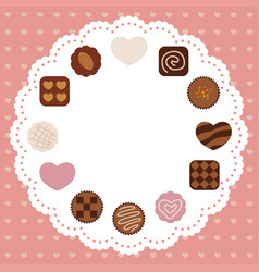 A valentines day card with various chocolates vector