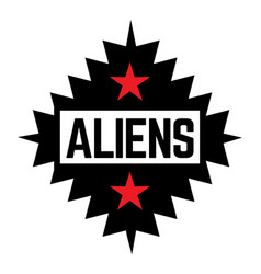Aliens stamp on white vector