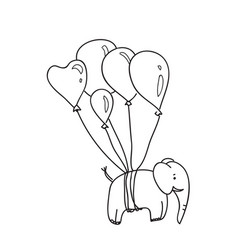 an elephant with balloons lines vector image