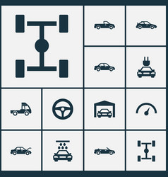 Auto icons set collection of fixing crossover vector