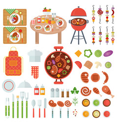 Bbq food and cooking utensils vector