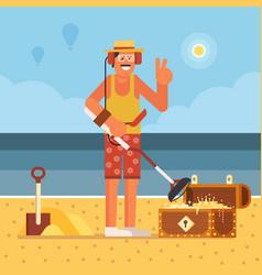 Beach treasure hunter with metal detector vector