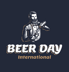 Bearded barmen with a shaker to international vector