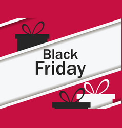 black friday gift box and ribbon with shadow big vector image