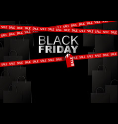 Black friday sale on shopping bag background vector