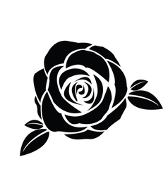 Black silhouette of rose with leaves vector