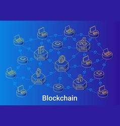 blockchain isometric linear blue vector image
