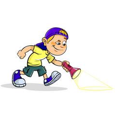 Boy with flashlight vector