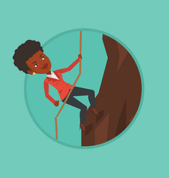 Business woman climbing on the mountain vector