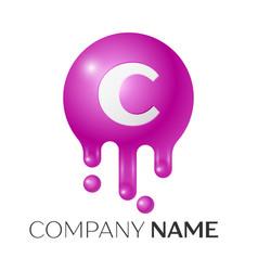 C letter splash logo purple dots and bubbles vector