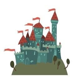 Cartoon Castle on a Hill flat icon vector