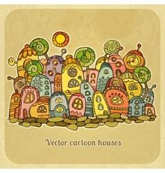 Cartoon fairy-tale spring houses vector