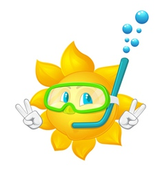 cartoon sun with mask and snorkel vector image