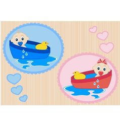 Children bathe in the tub vector image