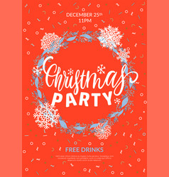 christmas party a4 poster greeting card vector image