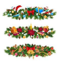 christmas tree and holly garland with xmas gifts vector image