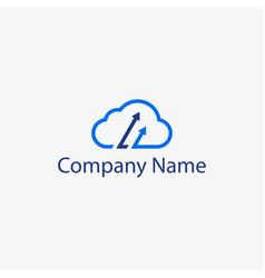 cloud arrow logo template vector image