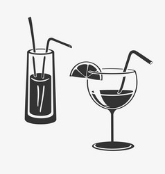 Cocktail in glass icons vector