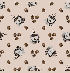 Coffee beans and cups seamless pattern vector