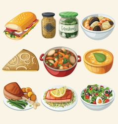 Collection of traditional french dinner meals vector image