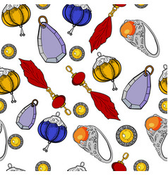color jewelry pattern of hand drawing vector image