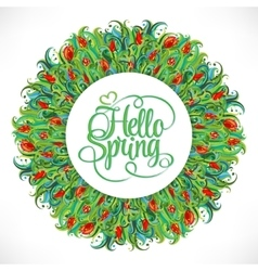 Colorful abstract hand-drawn round pattern green vector