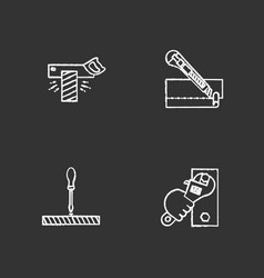 construction tools chalk icons set vector image