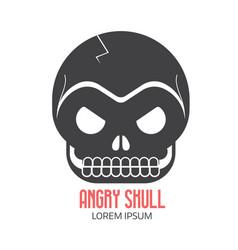 Crazy skeleton skull cartoon icon vector